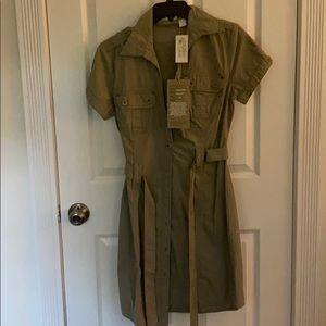 Button down olive safari dress.